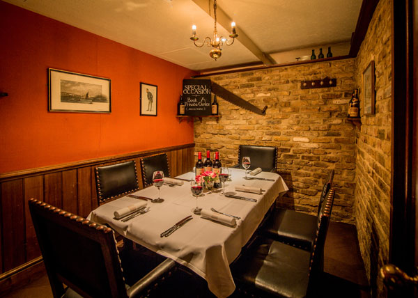 Private dining room at Champagne Charlies